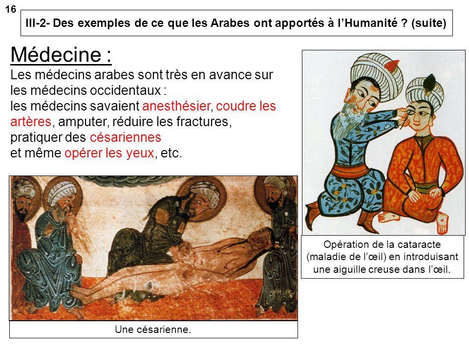 III-2- Des exemples de ce que les Arabes ont apportés à lHumanité ? Le Calife Al-Mamoun (813-833) fait construire la Maison de la sagesse en 832. Cest