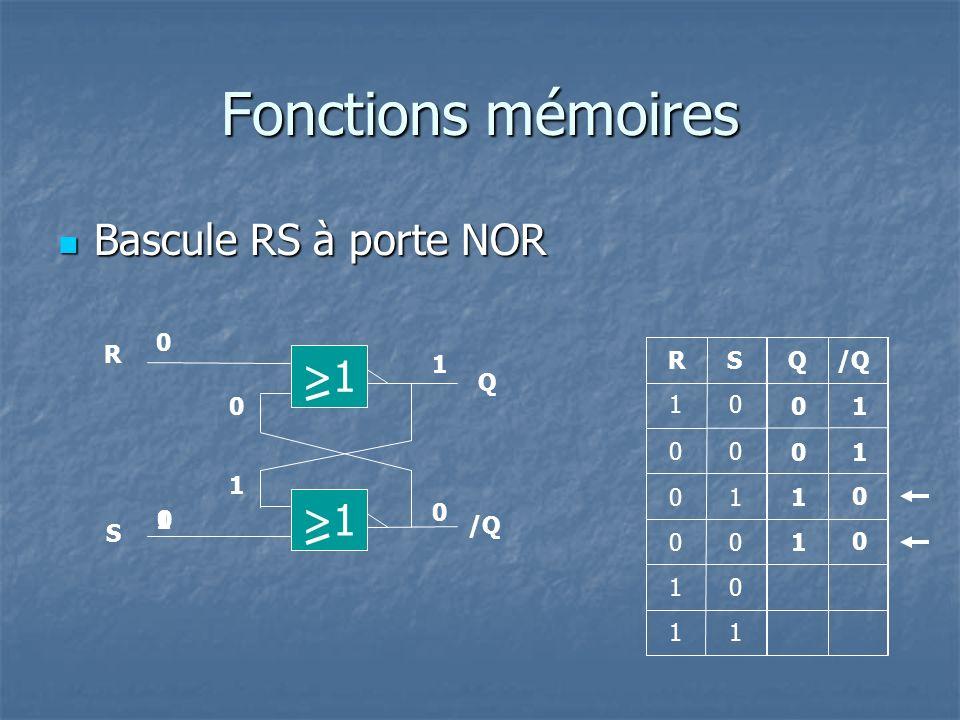 Fonctions mémoires Bascule RS à porte NOR Bascule RS à porte NOR QRS 0 0 1 1 0 00 0 1 0 R Q S /Q 1 1 0 0 10 >1 1 10 0 0 0 1 1 1 0 1