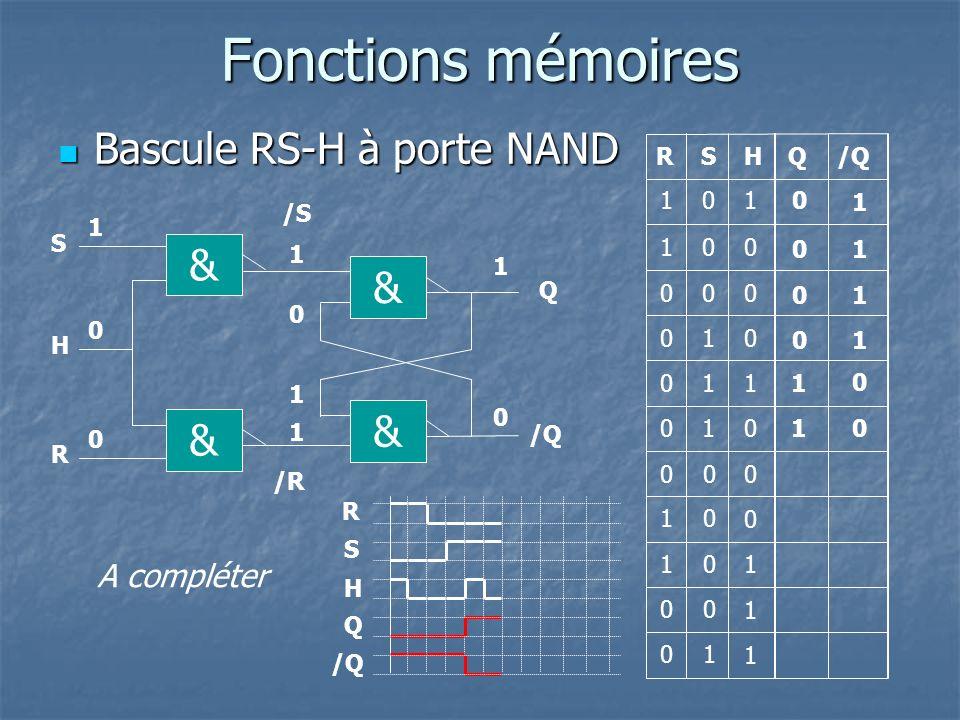 Fonctions mémoires Bascule RS-H à porte NAND Bascule RS-H à porte NAND Q R Q 1 1 0 1 0 00 0 0 1 1 & /S Q & /R /Q 0 1 1 0 0 1 1 10 & & H R S S 0 0 1 0