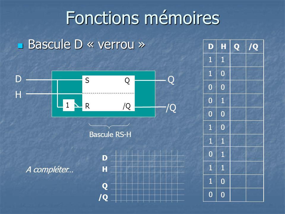 Fonctions mémoires Bascule D « verrou » Bascule D « verrou » Q Q 1 0 1 0 0 0 /Q D 1 0 0 1 1 0 DH H 0 1 1 1 1 0 0 0 1 1 Q D H 1 S Q R /Q A compléter… B