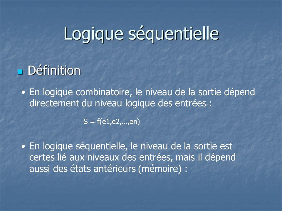 Logique séquentielle Définition Définition En logique combinatoire, le niveau de la sortie dépend directement du niveau logique des entrées : En logiq