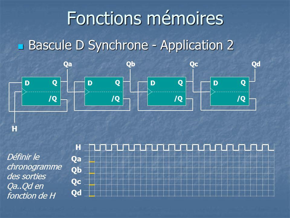 Fonctions mémoires Bascule D Synchrone - Application 2 Bascule D Synchrone - Application 2 H /Q Q D Définir le chronogramme des sorties Qa..Qd en fonc