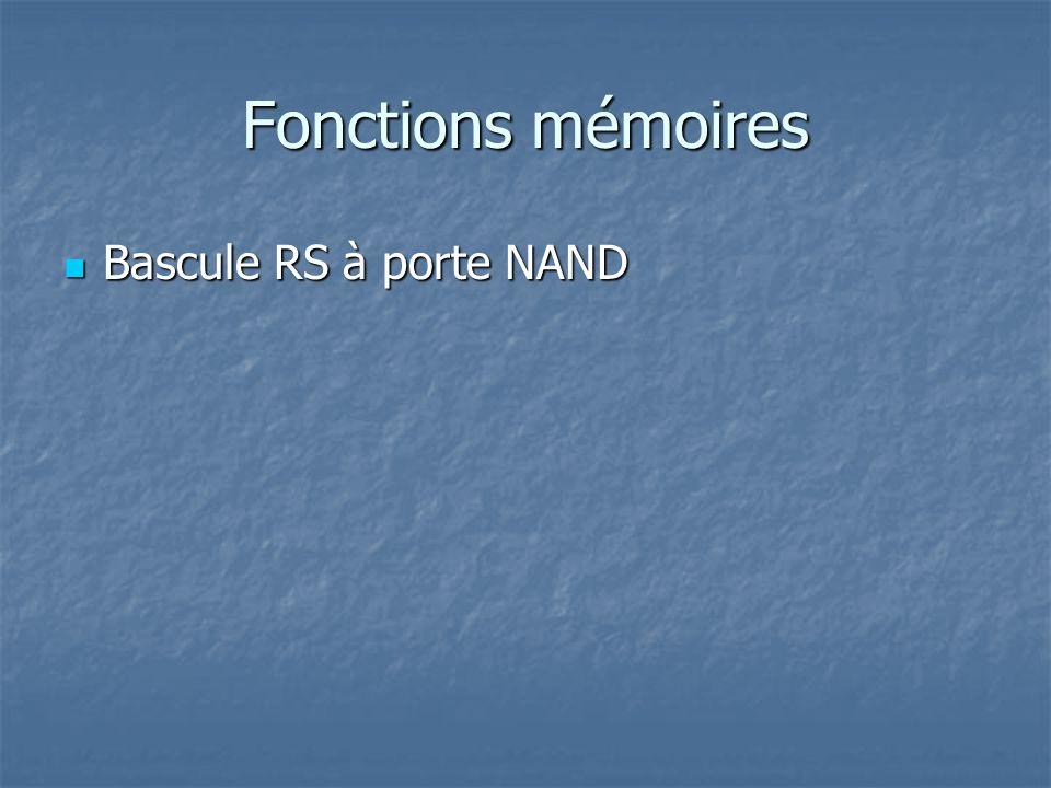 Fonctions mémoires Bascule RS-H à porte NAND Bascule RS-H à porte NAND Q R Q 1 1 0 1 0 00 0 0 1 1 & /S Q & /R /Q 0 1 1 0 0 1 1 10 & & H R S S 0 0 1 0 1 1 RSH 0 H 0 1 0 10 01 1 1 0 1 0 0 0 0 10 1 00 1 01 1 00 0 A compléter