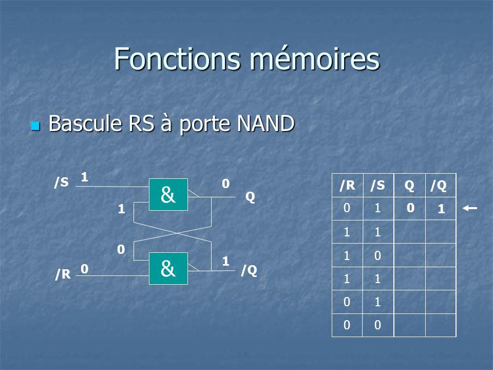 Fonctions mémoires Bascule RS-H à porte NAND Bascule RS-H à porte NAND Q R Q 1 1 0 1 0 00 0 0 1 & Q & /Q 0 1 10 & & H R S S 0 0 1 0 1 1 RSH H 0 1 10 01 1 0 10 0 0 0 10 1 00 1 01 1 00 0 Réfléchissons un peu 10 1 0 10 10 10