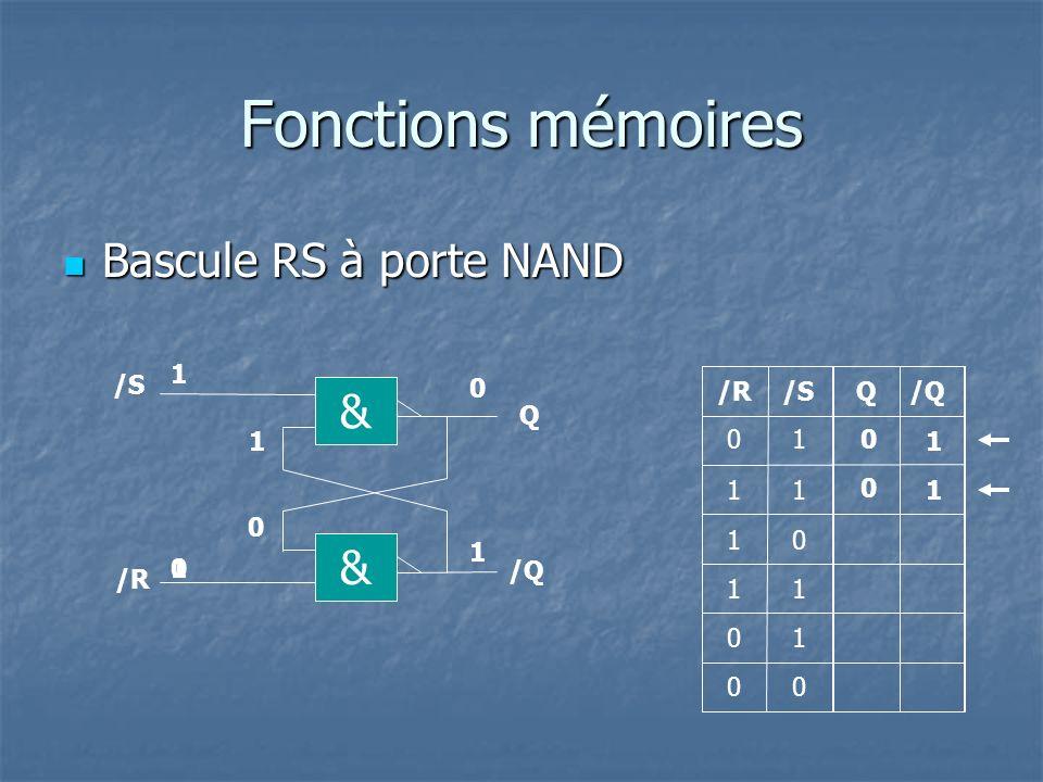 Fonctions mémoires Bascule RS-H à porte NAND Bascule RS-H à porte NAND Q R Q 1 1 0 1 0 00 0 0 1 /Q 0 1 10 S 0 0 1 0 1 1 RSH H 0 1 10 01 1 0 10 0 0 0 10 1 00 1 01 1 00 0 Symbole général 10 1 0 10 10 10 R Q /Q S S R H Si H=1, la bascule recopie les entrées S et R sur les sorties Q et /Q Si H=0, la bascule garde en mémoire le dernier état des sorties Q et /Q