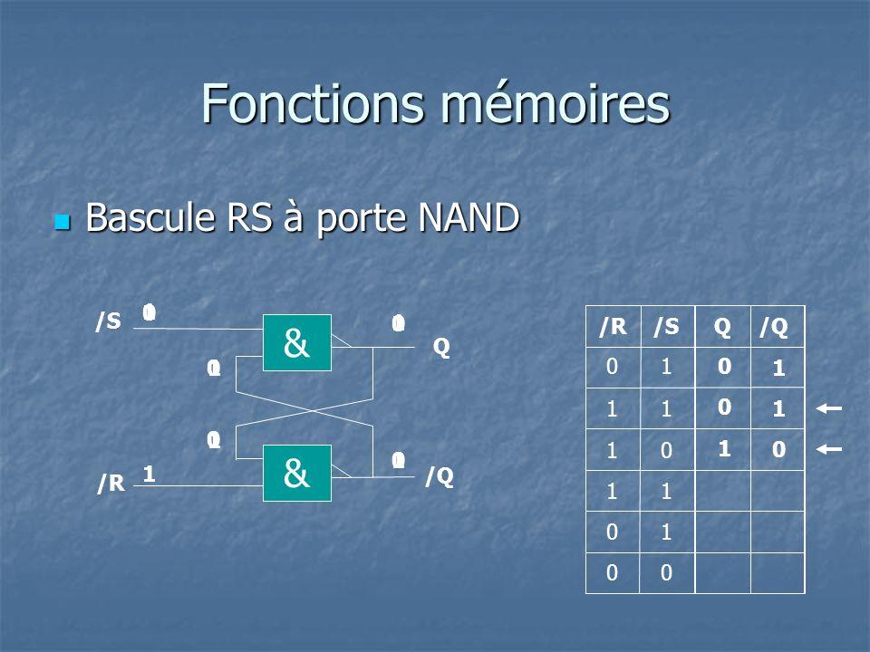 Fonctions mémoires Bascule RS à porte NAND Bascule RS à porte NAND Q/R/S 1 1 0 0 1 11 1 0 1 1 & Q & /R /Q 0 0 1 0 0 1 1 0 0 1 0 1 0 1 0 1
