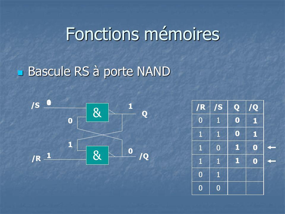Fonctions mémoires Bascule RS-H à porte NAND Bascule RS-H à porte NAND Q R Q 1 1 0 1 0 00 0 0 1 1 & /S Q & /R /Q 0 0 0 1 1 0 0 10 & & H R S S 0 0 1 0 1 1 RSH 1 0 H 1 0 1 0 1