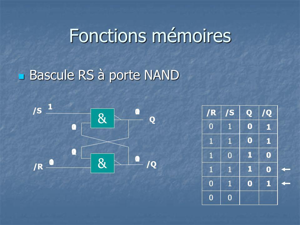 Fonctions mémoires Bascule RS-H à porte NAND Bascule RS-H à porte NAND Q R Q 1 1 0 1 0 00 0 0 1 1 & /S Q & /R /Q 0 0 1 1 1 0 0 10 & & H R S S 0 0 1 0 1 1 RSH 0 0 H 1 0 1 0 10