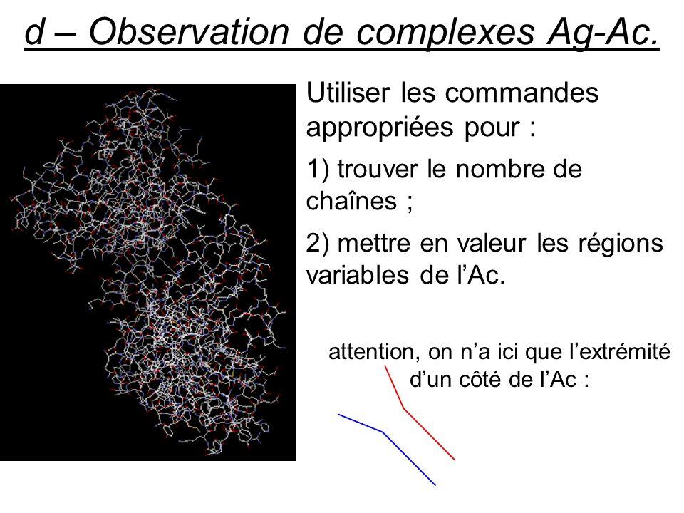 d – Observation de complexes Ag-Ac. Utiliser les commandes appropriées pour : 1) trouver le nombre de chaînes ; 2) mettre en valeur les régions variab