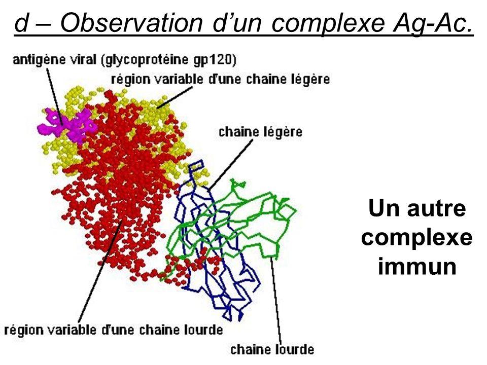 d – Observation dun complexe Ag-Ac. Un autre complexe immun