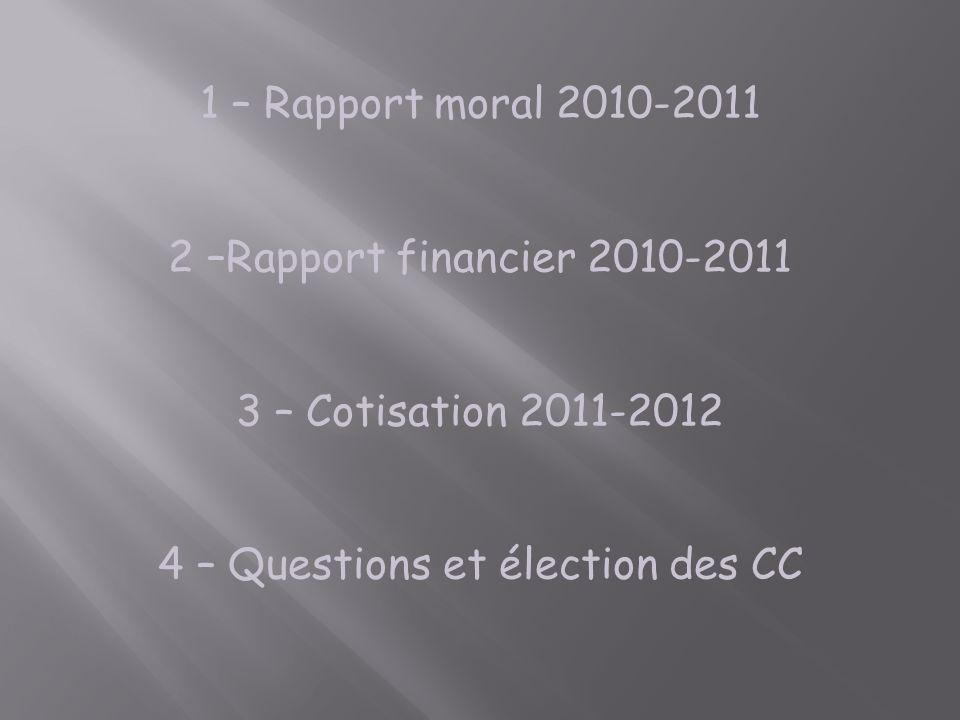 1 – Rapport moral 2010-2011 2 –Rapport financier 2010-2011 3 – Cotisation 2011-2012 4 – Questions et élection des CC