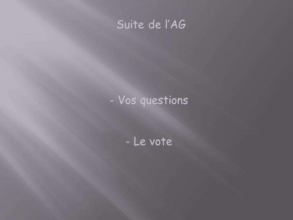- - Vos questions - - Le vote Suite de lAG