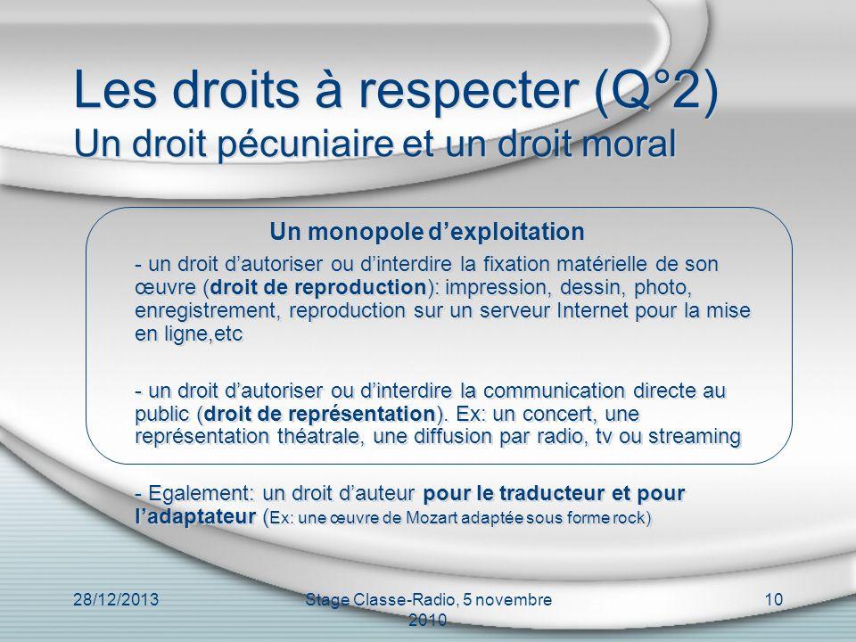 28/12/2013Stage Classe-Radio, 5 novembre 2010 10 Les droits à respecter (Q°2) Un droit pécuniaire et un droit moral Un monopole dexploitation - un dro