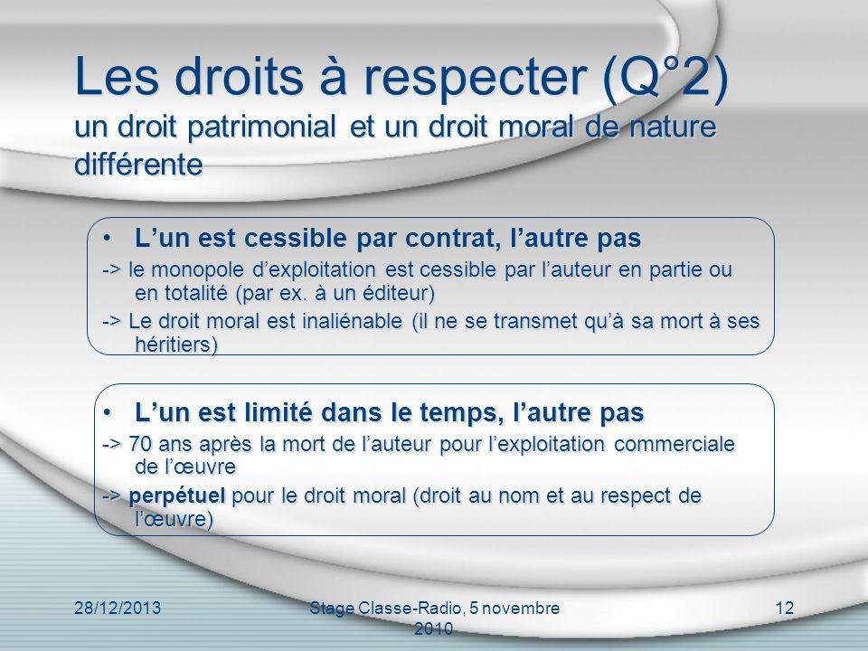 28/12/2013Stage Classe-Radio, 5 novembre 2010 12 Les droits à respecter (Q°2) un droit patrimonial et un droit moral de nature différente Lun est cess