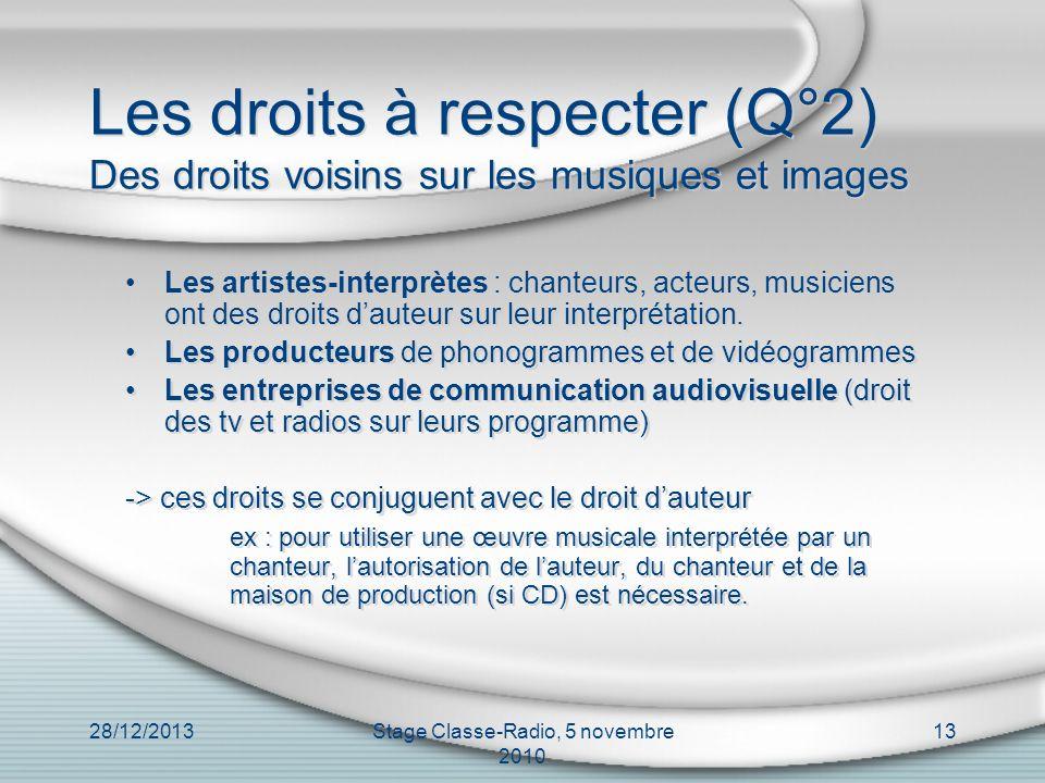 28/12/2013Stage Classe-Radio, 5 novembre 2010 13 Les droits à respecter (Q°2) Des droits voisins sur les musiques et images Les artistes-interprètes :