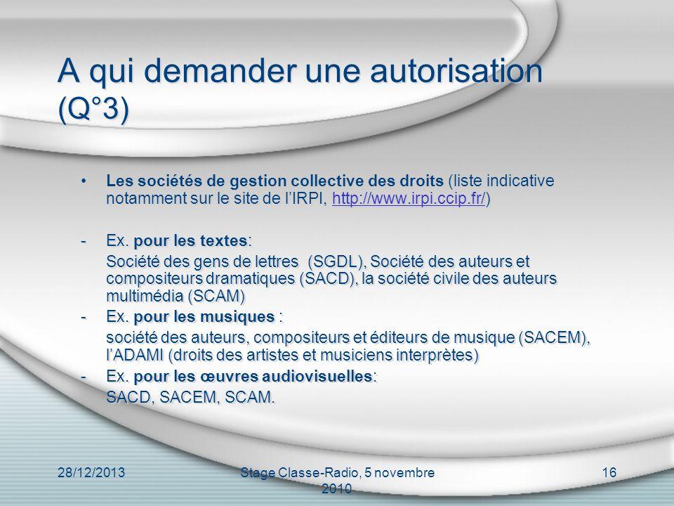 28/12/2013Stage Classe-Radio, 5 novembre 2010 16 A qui demander une autorisation (Q°3) Les sociétés de gestion collective des droits (liste indicative