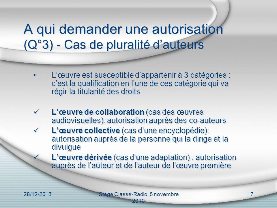 28/12/2013Stage Classe-Radio, 5 novembre 2010 17 A qui demander une autorisation (Q°3) - Cas de pluralité dauteurs Lœuvre est susceptible dappartenir