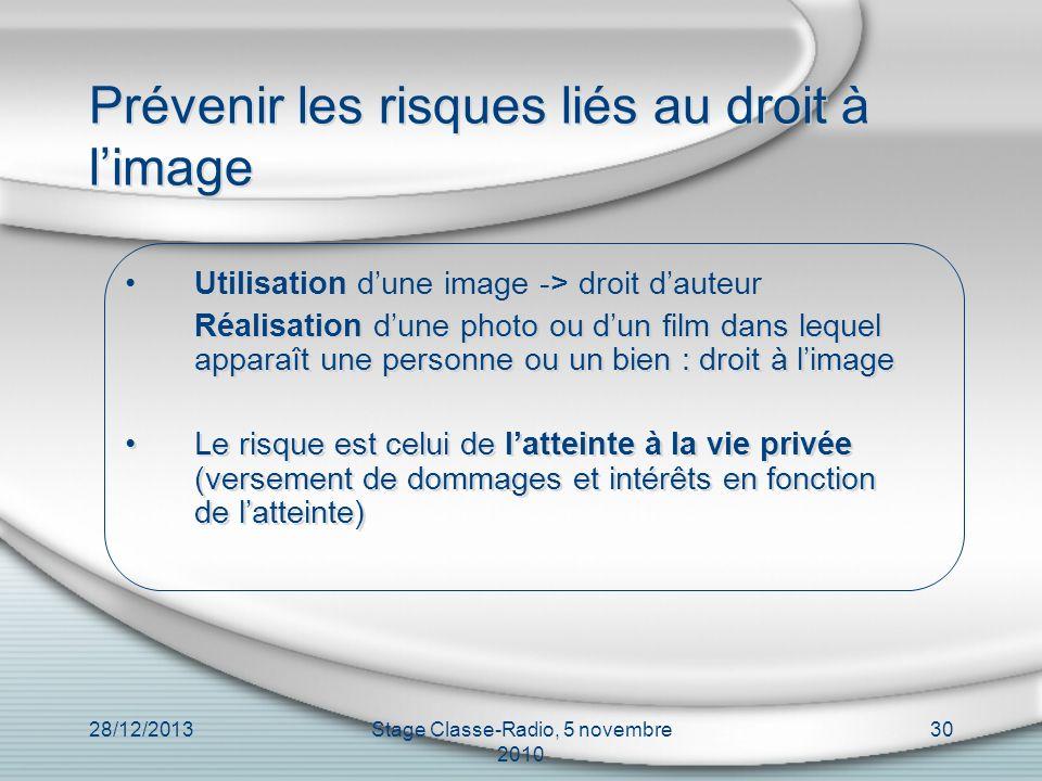 28/12/2013Stage Classe-Radio, 5 novembre 2010 30 Prévenir les risques liés au droit à limage Utilisation dune image -> droit dauteur Réalisation dune