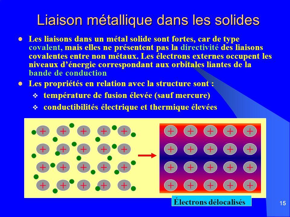 15 Liaison métallique dans les solides Liaison métallique dans les solides Les liaisons dans un métal solide sont fortes, car de type covalent, mais e