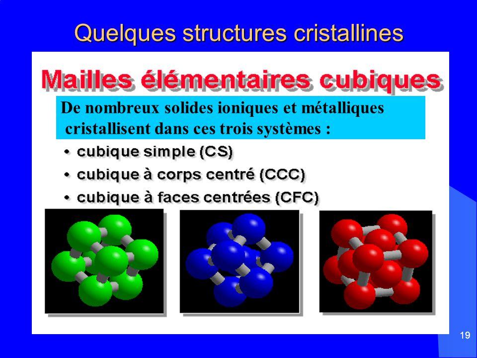 19 Quelques structures cristallines Quelques structures cristallines De nombreux solides ioniques et métalliques cristallisent dans ces trois systèmes