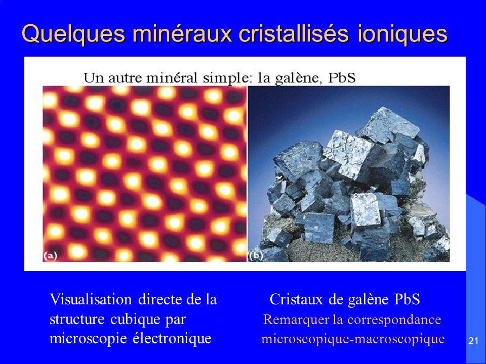 21 Quelques minéraux cristallisés ioniques Visualisation directe de la Cristaux de galène PbS structure cubique par Remarquer la correspondance micros