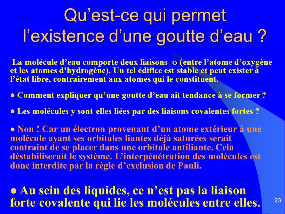 23 Quest-ce qui permet lexistence dune goutte deau ? La molécule deau comporte deux liaisons entre latome doxygène et les atomes dhydrogène). Un tel é