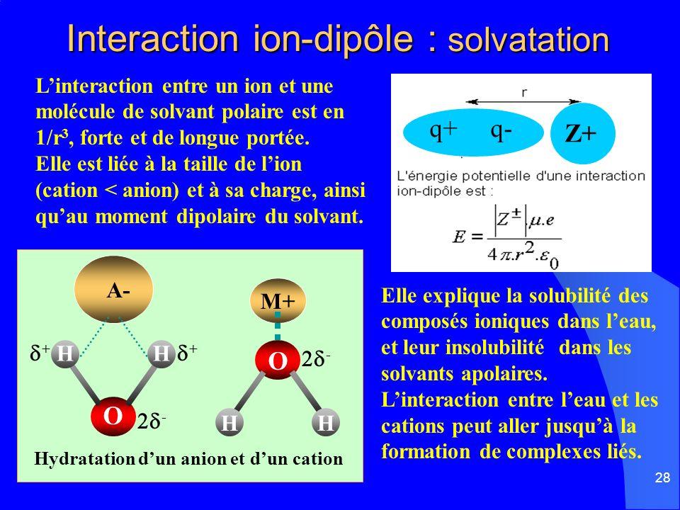 28 Interaction ion-dipôle : solvatation Interaction ion-dipôle : solvatation Linteraction entre un ion et une molécule de solvant polaire est en 1/r 3