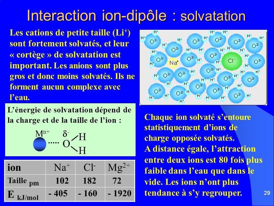29 Interaction ion-dipôle : solvatation Interaction ion-dipôle : solvatation Les cations de petite taille (Li + ) sont fortement solvatés, et leur « c