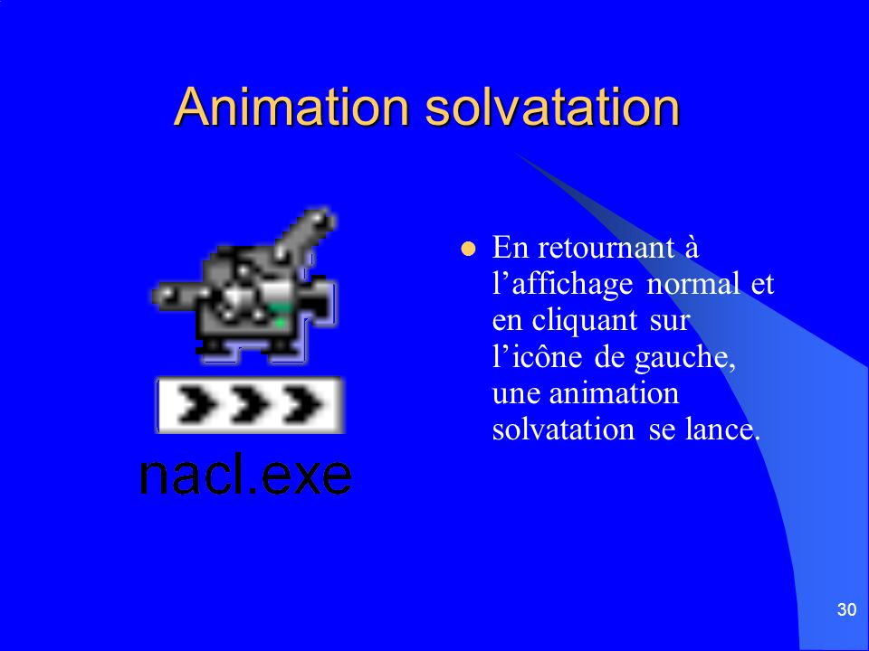 30 Animation solvatation En retournant à laffichage normal et en cliquant sur licône de gauche, une animation solvatation se lance.