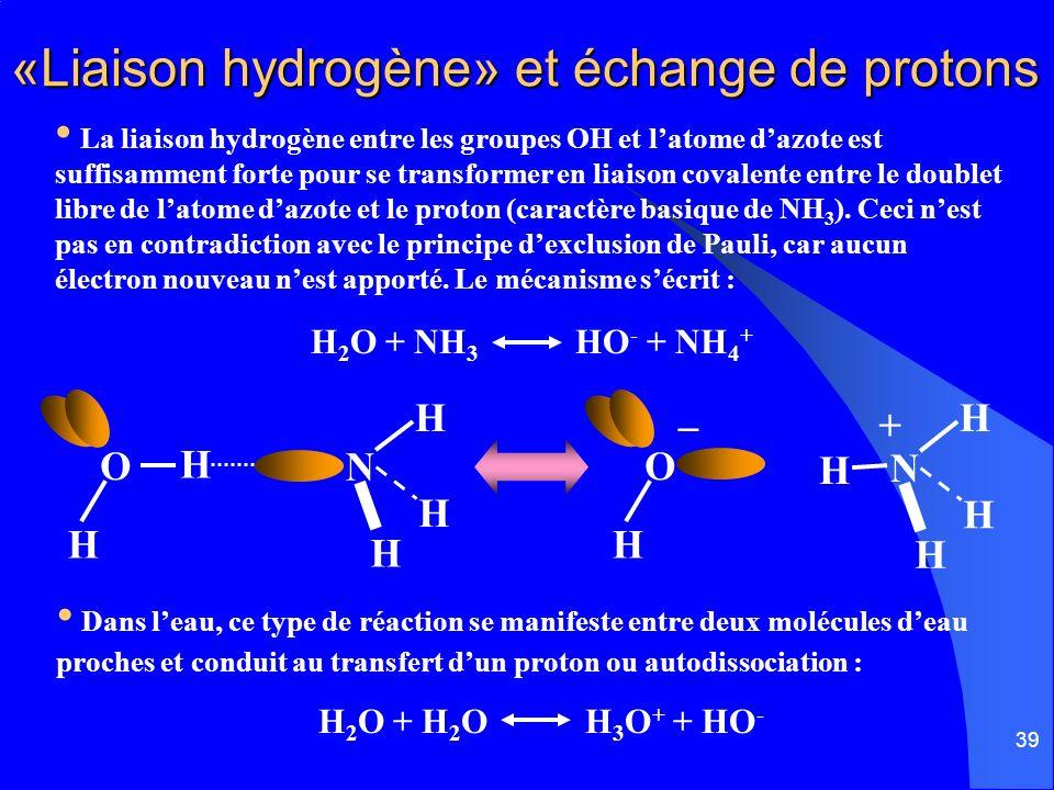 39 «Liaison hydrogène» et échange de protons Dans leau, ce type de réaction se manifeste entre deux molécules deau proches et conduit au transfert dun