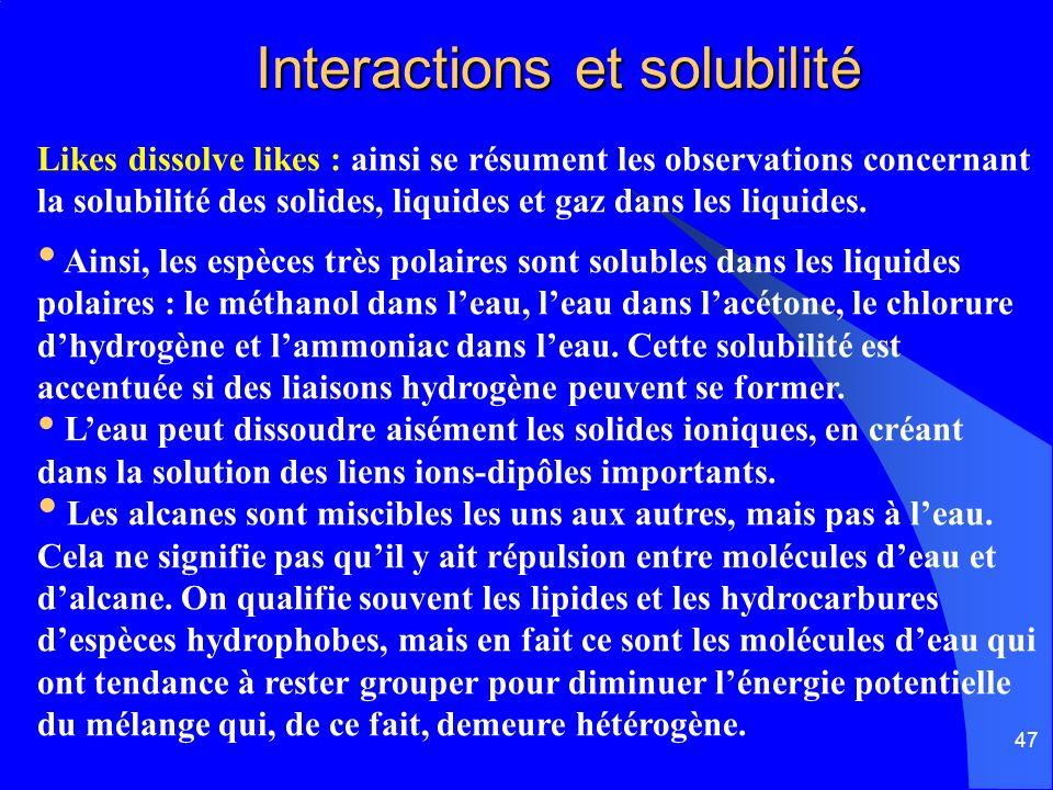 47 Interactions et solubilité Interactions et solubilité Likes dissolve likes : ainsi se résument les observations concernant la solubilité des solide