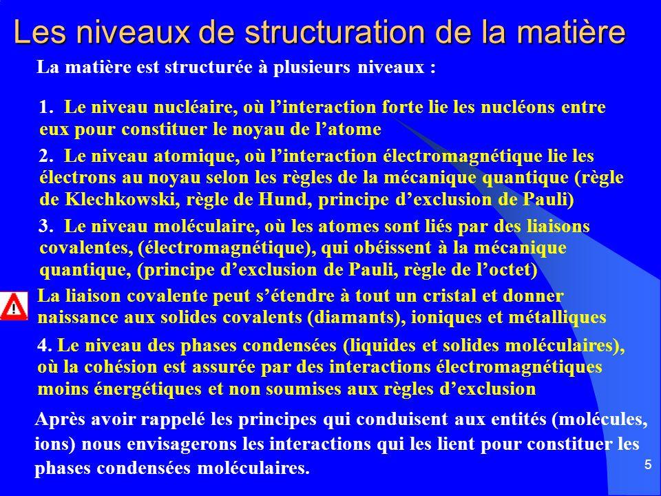 5 Les niveaux de structuration de la matière La matière est structurée à plusieurs niveaux : 1. Le niveau nucléaire, où linteraction forte lie les nuc