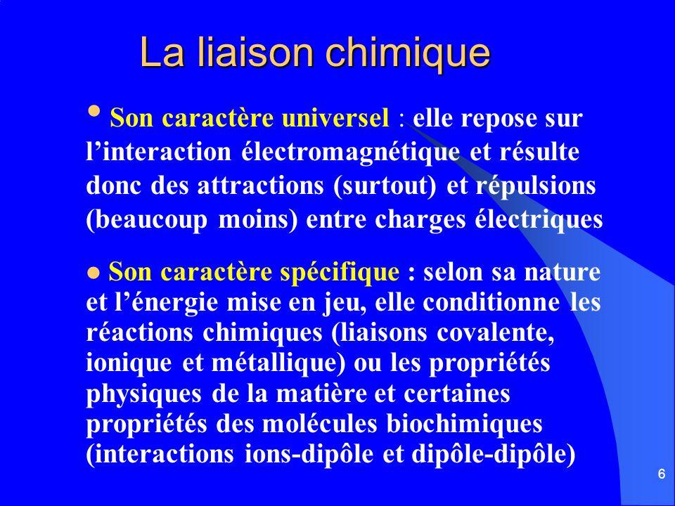 6 La liaison chimique Son caractère spécifique : selon sa nature et lénergie mise en jeu, elle conditionne les réactions chimiques (liaisons covalente