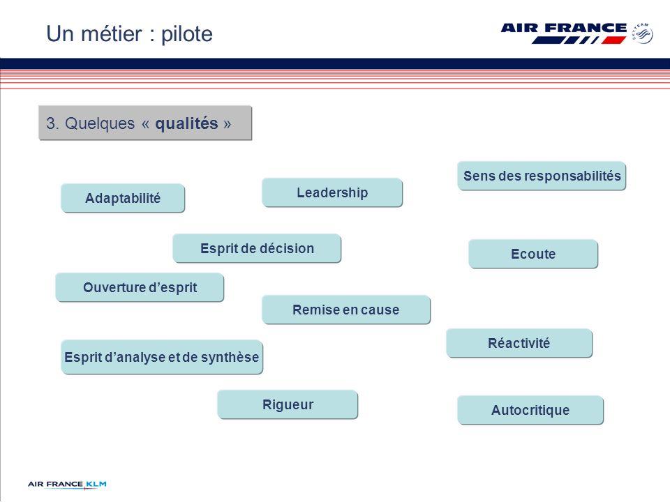3. Quelques « qualités » Un métier : pilote Adaptabilité Sens des responsabilités Leadership Ecoute Esprit danalyse et de synthèse Réactivité Esprit d