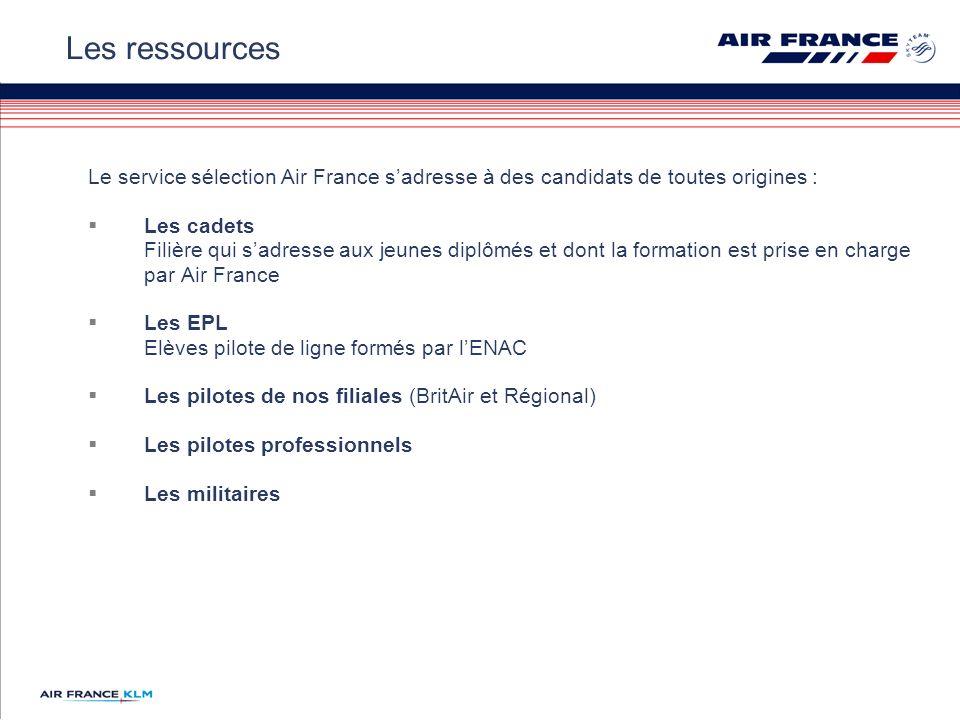 Le service sélection Air France sadresse à des candidats de toutes origines : Les cadets Filière qui sadresse aux jeunes diplômés et dont la formation