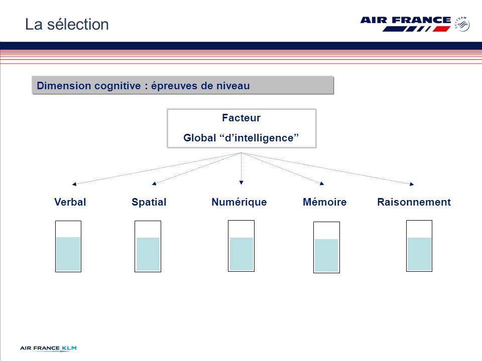 VerbalSpatialNumériqueMémoireRaisonnement Facteur Global dintelligence Dimension cognitive : épreuves de niveau La sélection