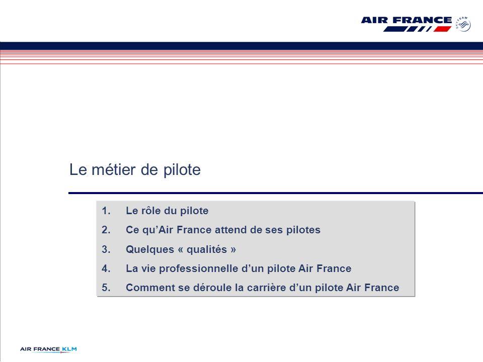 Le métier de pilote 1.Le rôle du pilote 2.Ce quAir France attend de ses pilotes 3.Quelques « qualités » 4.La vie professionnelle dun pilote Air France 5.Comment se déroule la carrière dun pilote Air France