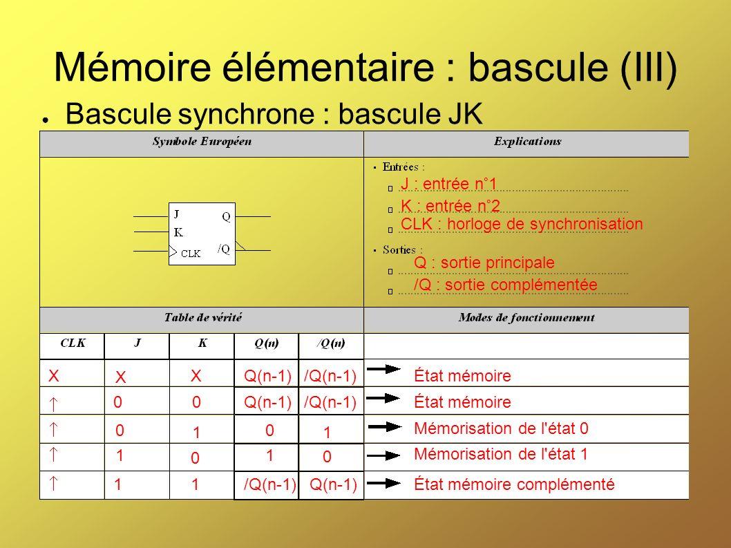Mémoire élémentaire : bascule (III) Bascule synchrone : bascule JK Q : sortie principale /Q : sortie complémentée J : entrée n°1 K : entrée n°2 CLK :