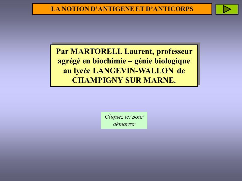SOMMAIRE 1- Les différents types dantigène b- Les antigènes solubles a- Les antigènes particulaires NOTION DANTIGENE 2- Les déterminants antigéniques NOTION DANTICORPS 1- La cellule productrice : le plasmocyte 2- Structure schématique dun anticorps 3- Complémentarité « paratope – épitope » 4- Fonctions biologiques des anticorps a- Neutralisation de lantigène b- Opsonisation C- Activation du complément par la voie classique Cliquez sur le lien désiré