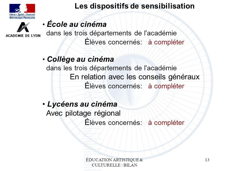 ÉDUCATION ARTISTIQUE & CULTURELLE : BILAN 13 Les dispositifs de sensibilisation École au cinéma dans les trois départements de l'académie É lèves conc