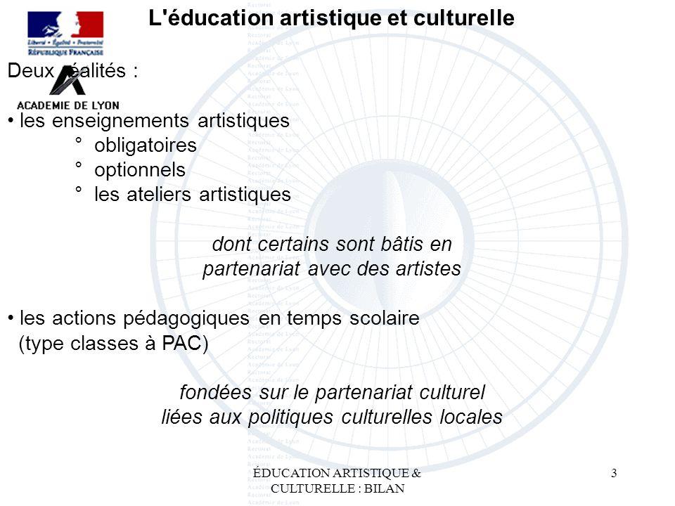 ÉDUCATION ARTISTIQUE & CULTURELLE : BILAN 3 L'éducation artistique et culturelle Deux réalités : les enseignements artistiques ° obligatoires ° option