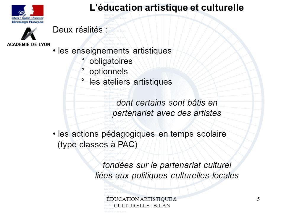 5 L'éducation artistique et culturelle Deux réalités : les enseignements artistiques ° obligatoires ptionnels ° les ateliers artistiques dont certains