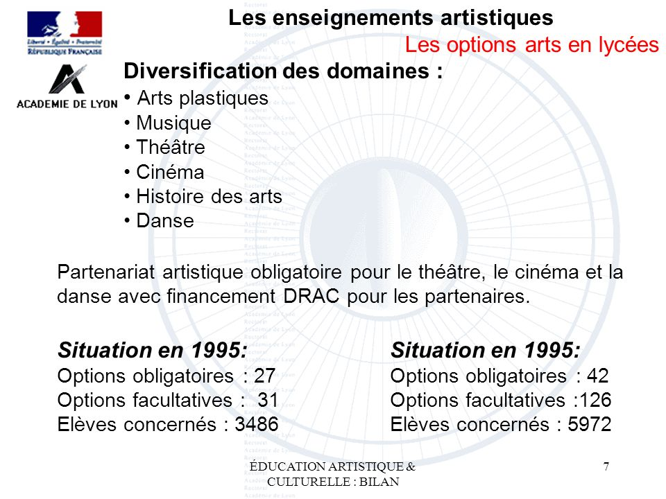 ÉDUCATION ARTISTIQUE & CULTURELLE : BILAN 7 Les enseignements artistiques Les options arts en lycées Diversification des domaines : Arts plastiques Mu