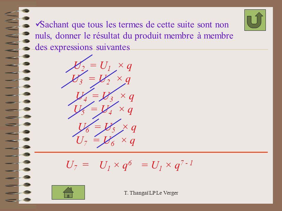 T. Thangaï LP Le Verger Sachant que tous les termes de cette suite sont non nuls, donner le résultat du produit membre à membre des expressions suivan