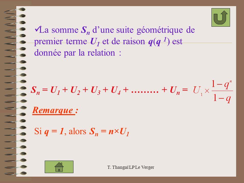 T. Thangaï LP Le Verger La somme S n dune suite géométrique de premier terme U 1 et de raison q(q 1 ) est donnée par la relation : S n = U 1 + U 2 + U
