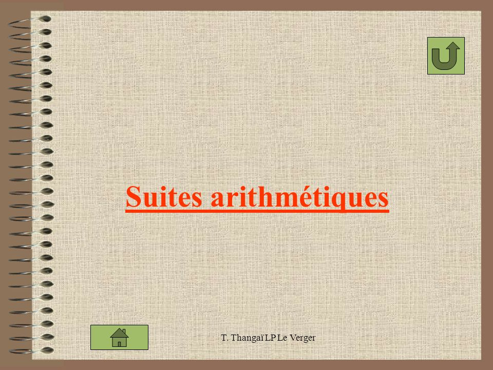 T. Thangaï LP Le Verger Suites arithmétiques