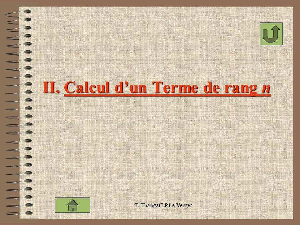 T. Thangaï LP Le Verger II. Calcul dun Terme de rang n