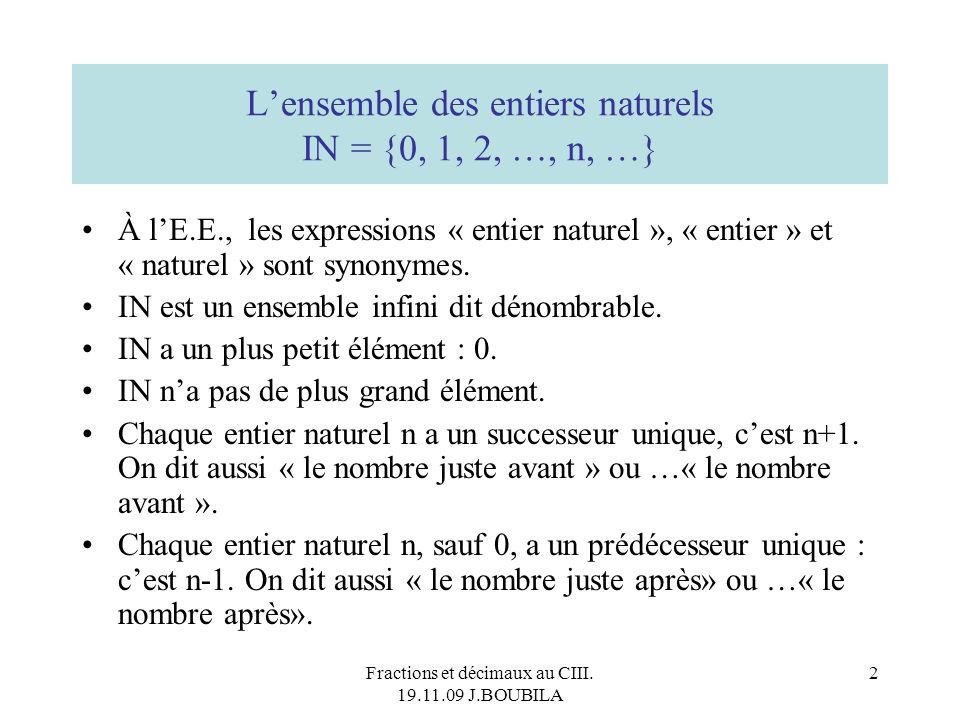 Fractions et décimaux au CIII. 19.11.09 J.BOUBILA 1 Quelques repères autour des nombres… au cycle III et… après Sources : TFM IUFM Créteil