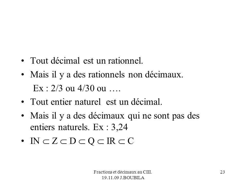 Fractions et décimaux au CIII. 19.11.09 J.BOUBILA 22 Enfin…le voici… lensemble ID des décimaux Les rationnels qui ont 0 pour période peuvent être écri