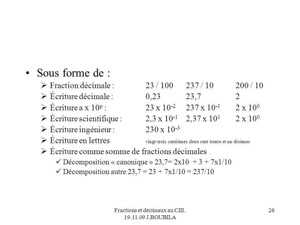 Fractions et décimaux au CIII. 19.11.09 J.BOUBILA 25 ID est stable pour +, - et x. Lopposé dun décimal est un décimal. Linverse dun décimal nest pas e